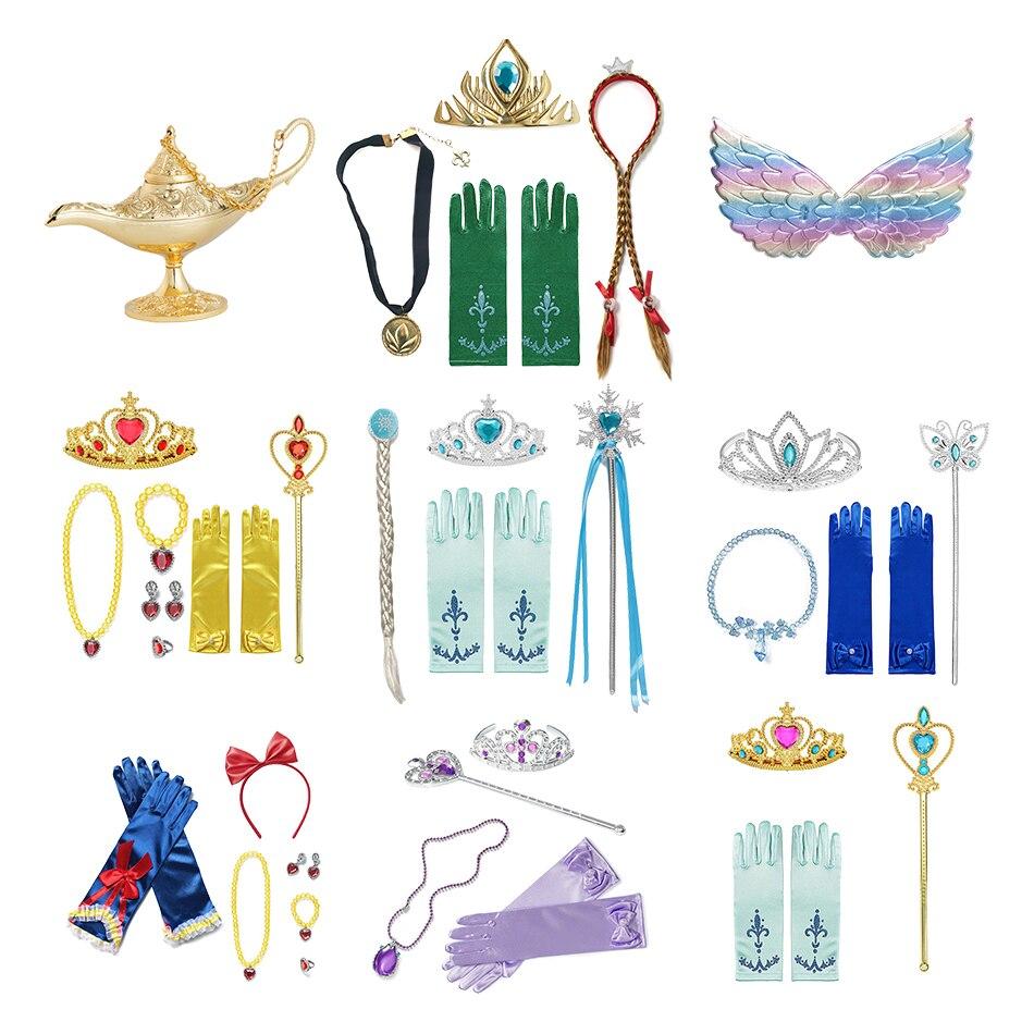 Аксессуары для девочек и принцесс Анна Эльза, Белль, белоснежная волшебная палочка, ожерелье, перчатки, серьги, браслет, наборы красивой оде...