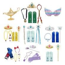 Dziewczyna księżniczka akcesoria Anna Elsa Belle królewna śnieżka magiczna różdżka naszyjnik rękawiczki bransoletka kolczyk śpiąca królewna zestawy ręczne