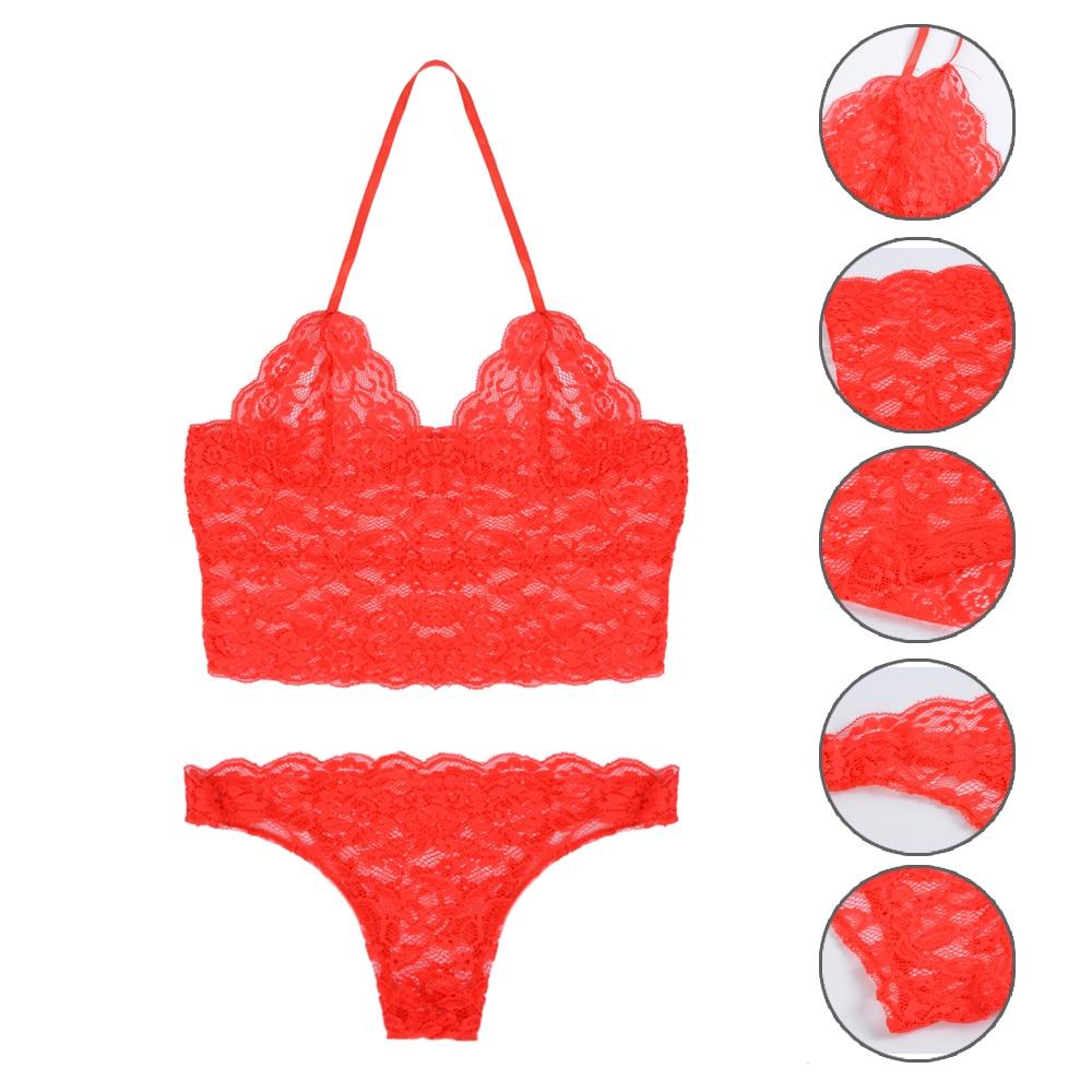 2020 Sexy Women Lace Bra Lingeria Set Hollow Out Lingerie Backless Bra Sexy Sling Patchwork Transparent Bra Underwear