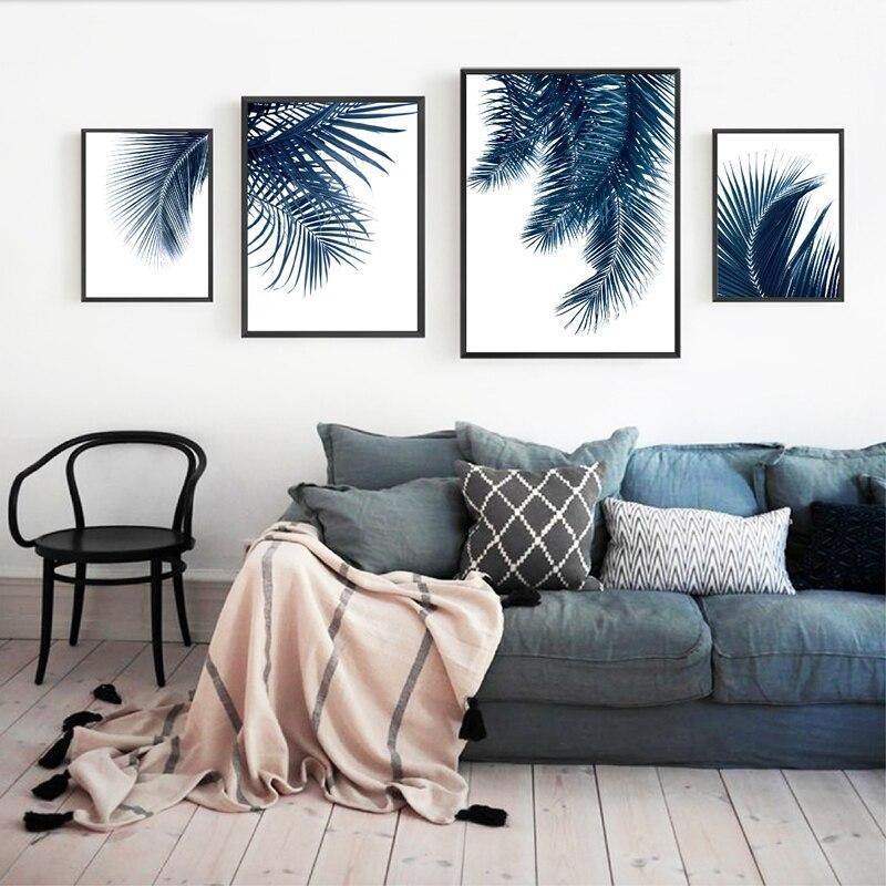 Navy Blue Wall Art Palm Leaves Prints Home Decor