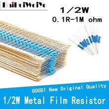 50PCS/LOT 1/2W 0.1R-1M 1% 1/2W Metal Film Resistor 0 2.2 10 100 120 150 220 270 330 390 470 1K 2.2K 4.7K 10K 15K 100K 470K ohm