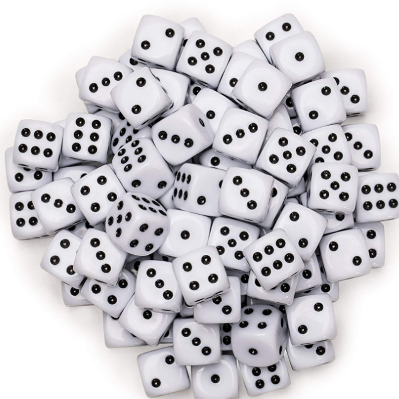 100 Pcs/lot Black/White Point Dice Puzzle Game Send Children 6 Sided Dice DIY Game Accessory 10mm