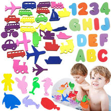 36PC Animal Traffic Digital Alphabet Sticker EVA Bath Toy Safety Soft Floating Cognitive Bathroom Water Toy Baby Educational Toy(China)