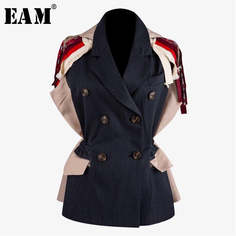[EAM] ample Fit motif imprimé glands Double boutonnage veste nouveau revers manches courtes femmes manteau mode automne hiver 2019 JZ514