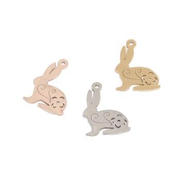 Colgantes de conejo de acero inoxidable de gran calidad, colgantes para manualidades DIY, collar, pulsera, pendientes, etiquetas para mujeres y hombres