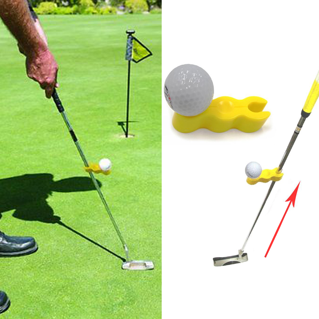 Set 2 Deluxe Yellow Plastic Golf Tempo Tray Putter Training Aid Golf Swing Trainer Golf Putting Training Aid