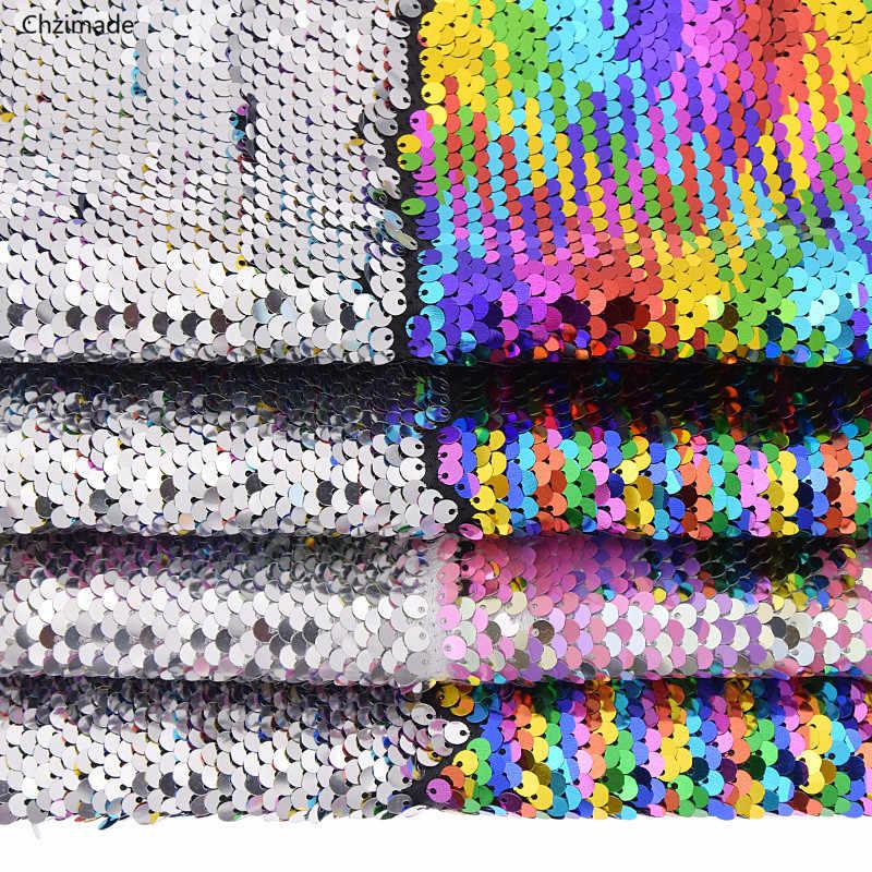 Lychee Life 29cm x 21cm A4 레인보우 가역 스팽글 원단 고품질 반짝이 원단 DIY 바느질 용품