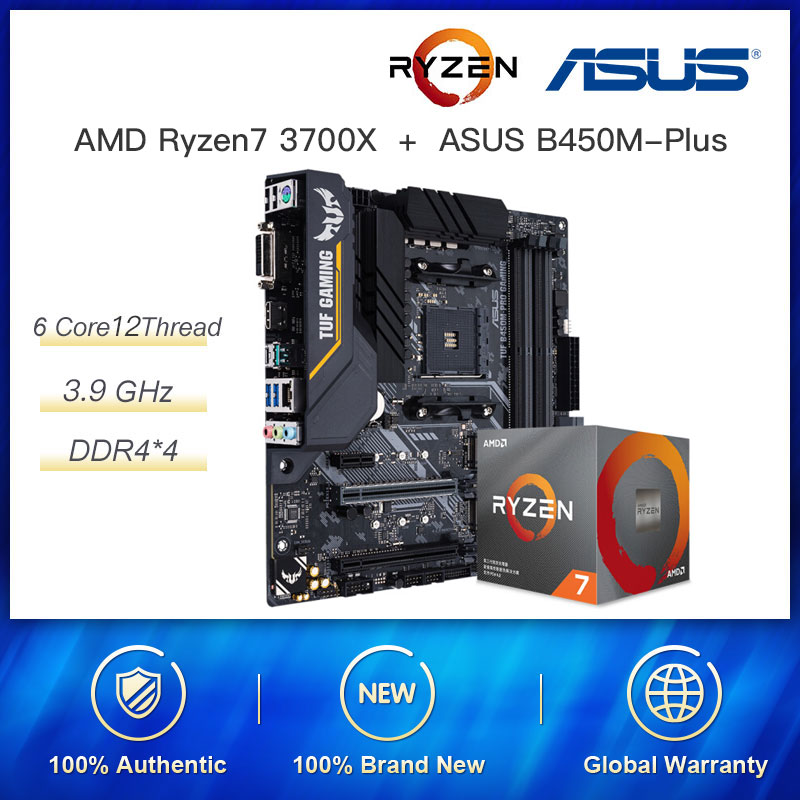 New combination AMD Ryzen 7 3700X R7 3700X 3.6 GHz 8 Core 16 Threads 65W Socket AM4 with <font><b>ASUS</b></font> TUF <font><b>B450M</b></font>-PRO <font><b>GAMING</b></font> Motherboard image