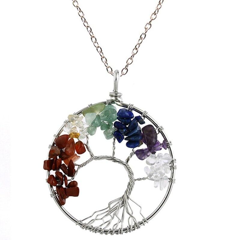 7 Чакра кварцевый и из натурального камня Древо жизни кулон ожерелье для женщин кристалл натуральный камень ожерелье s Подвески рейки ювелирные изделия - Окраска металла: MC
