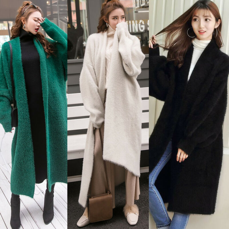 Women New Synthetic Mink Cashmere Solid Sweater Cardigan Winter Coat Batwing Sleeve Knitted Long Cardigan Thick Sweaters