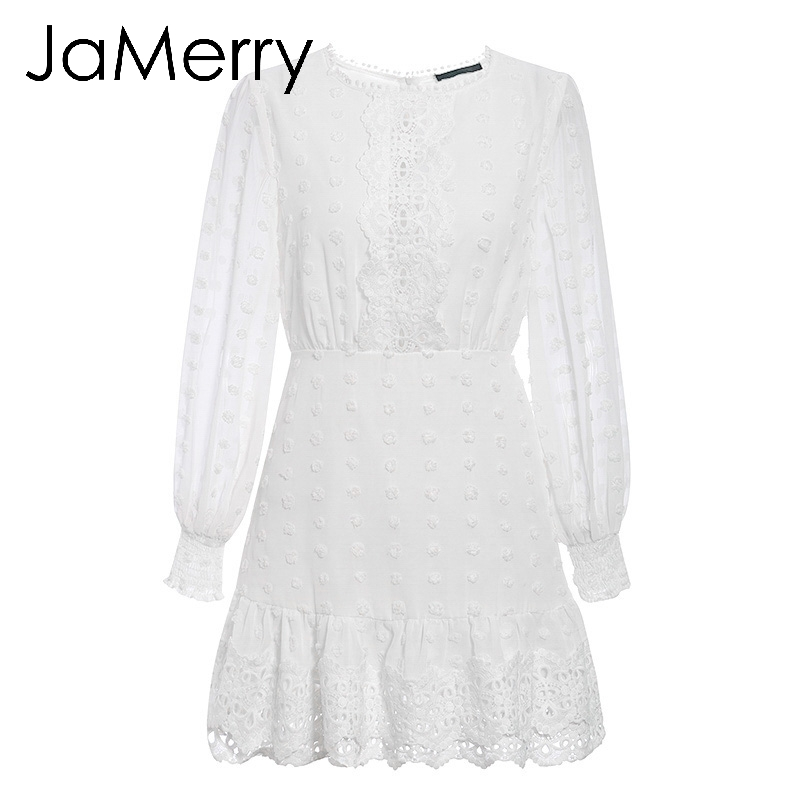 JaMerry Vintage sexy white lace short dress women Long puff sleeve dresses dots female Luxury slim party mini dress vestidos 5