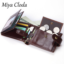 New men's business oil wax leather retro first layer cowhide wallet multi-card bit clutch bag