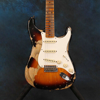 Sunburst color Relics Electric Guitar,Relics by hands.high quality pickups,maple fingerboard.handmade 6 stings guitar. top quality gyhl 0009 headless blue color ash wood body with f hole quilted maple veneer cover active pickup electric guitar