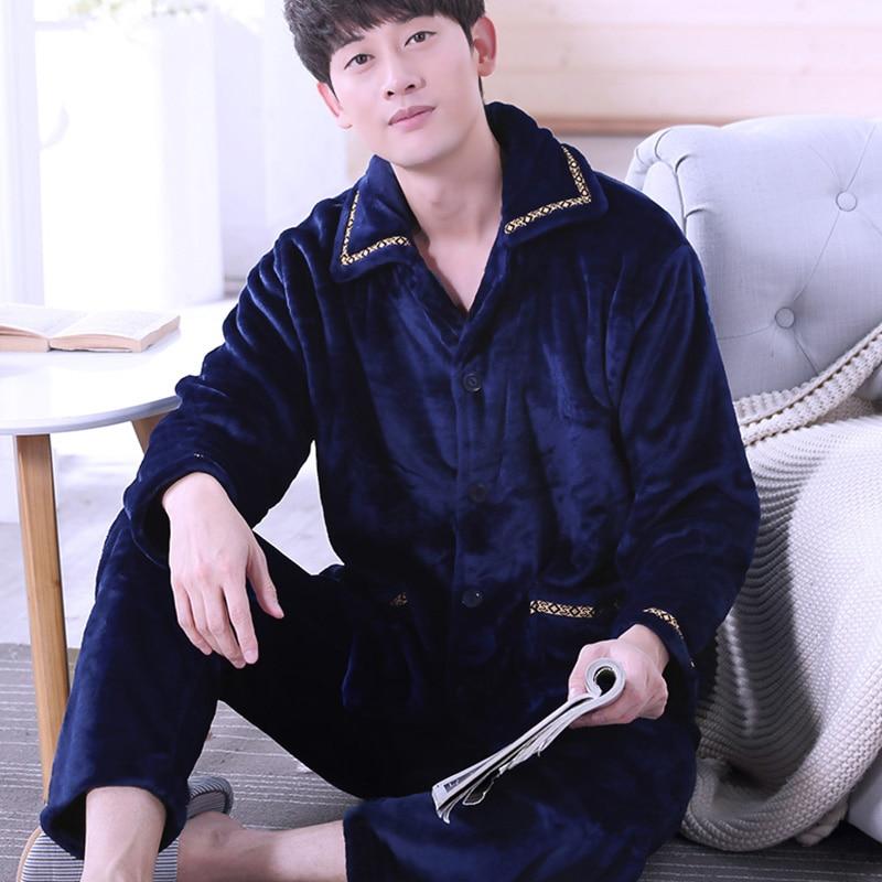 H5750 Autumn Winter Coral Fleece Pajamas Men Long Sleeve Cute Flannel Home Wear Suit Male Turn Down Causal Leisure Sleepwear
