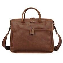 Bandolera de cuero de gran capacidad unisex, maletín para ordenador portátil de 14 pulgadas, bolsa de mensajero para documentos, bolso de negocios de cuero retro