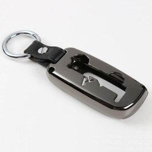 Cubierta de anilla para llave a control remoto de coche, soporte de cuero, cadena protectora de metal para Interior, accesorios para jeep grand cherokee