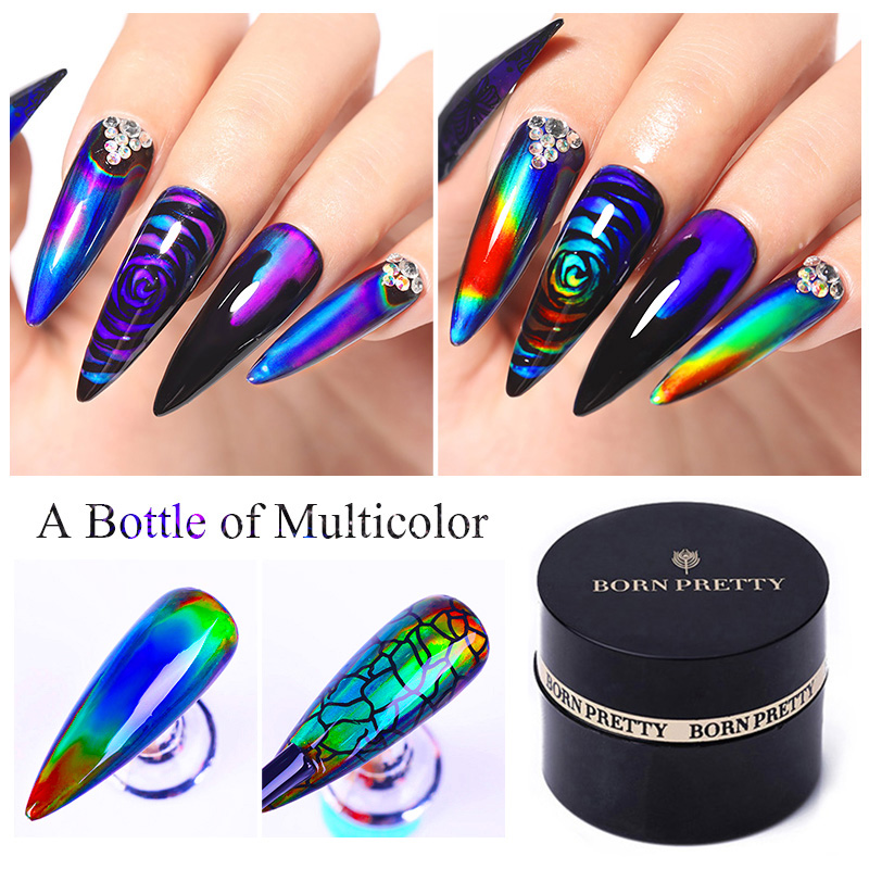 BORN PRETTY Thermal Sensitive Liquid Color Changing Liquid UV LED Soak Off Gel Nail Polish Changing Paint Gel Black Base Need 2g