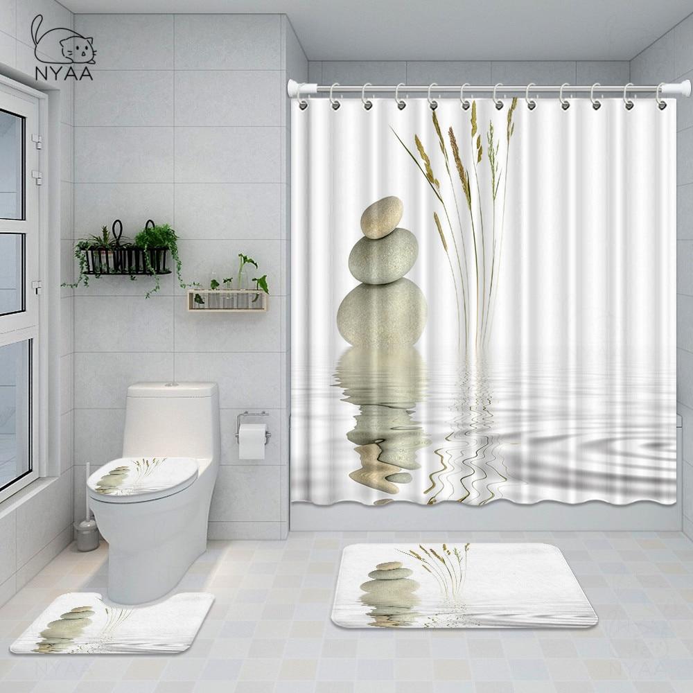nyaa zen stones spring bathroom set lotus flower reflection on water waterproof shower curtain toilet cover mat non slip rug
