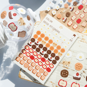 3 Pc Kawaii Bear Bread Weather Mini Sticker Scrapbooking Decorative Sticker Korean DIY Diary Album Stick Label School Stationery 2 pcs lot vintage sweet life paper sticker diy scrapbooking diary album label sticker post kawaii stationery school supplies
