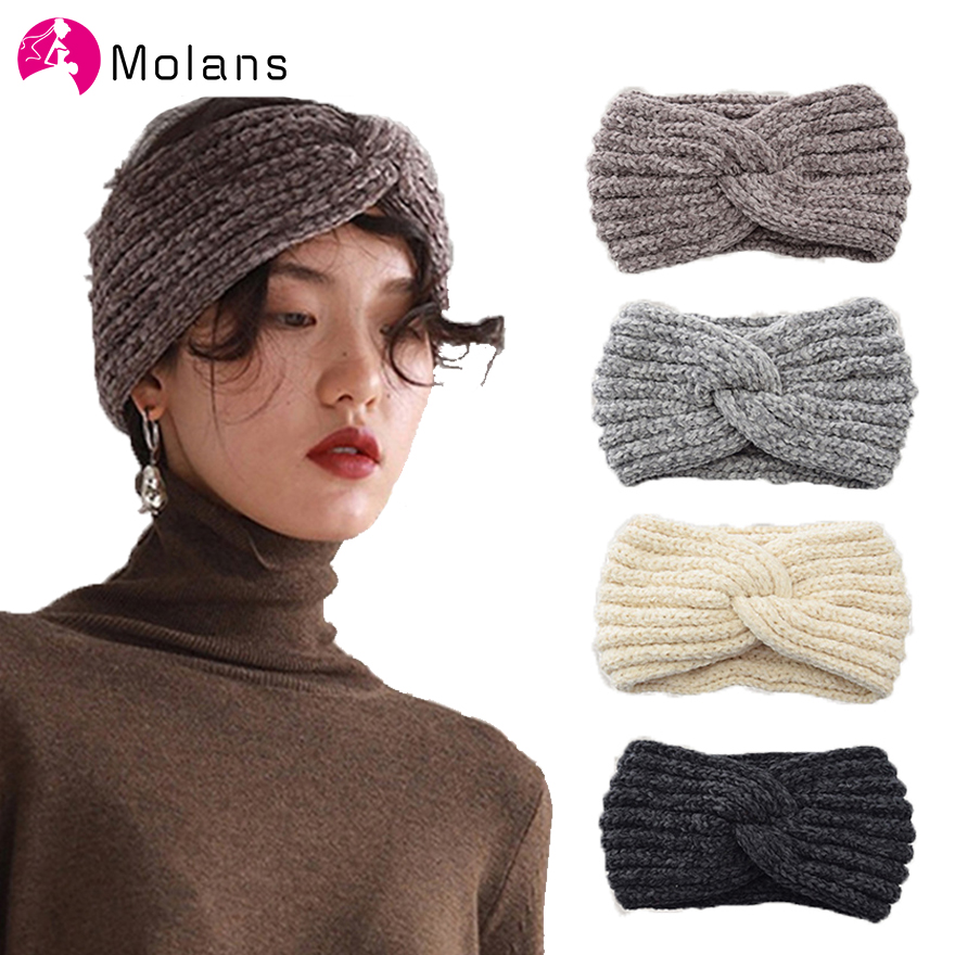 Molans New Handmade Woven Headbands Cross Knotted Simple Knitting Corduroy Manual Head Bands Women Warm Ear Protected Headpieces