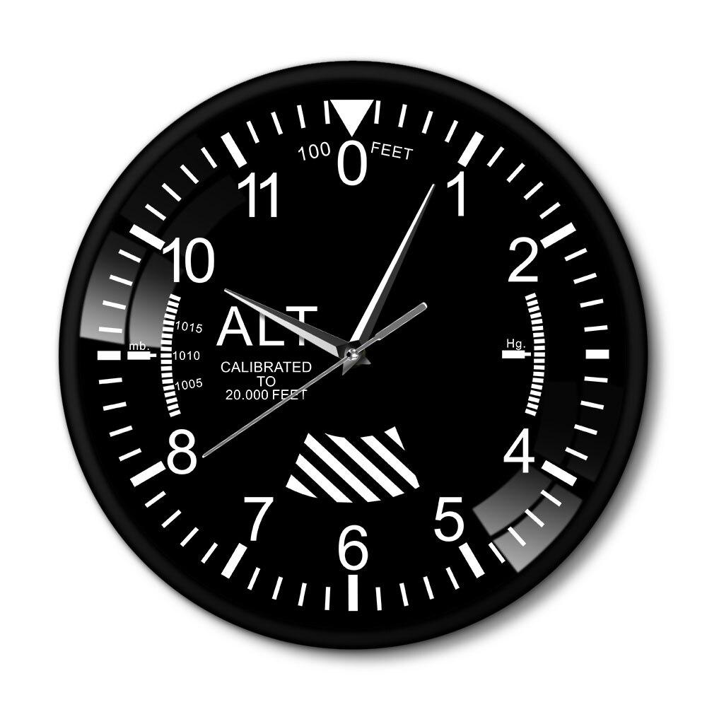 Air Plane Altitude Measurement Rrint Wall Clock Black Metal Frame Altimeter Round Wall Art Decor Timepiece Clock Duvar Saati