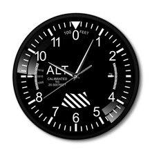 공기 평면 고도 측정 rrint 벽시계 검은 금속 프레임 고도계 라운드 벽 아트 장식 시계 시계 duvar saati
