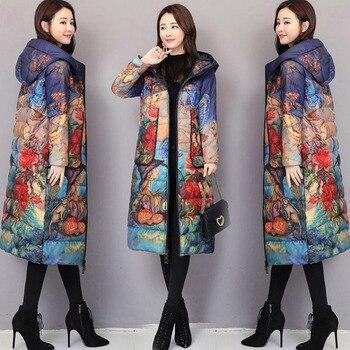 Slim Down Jacket Female Long parkas 2018 New Autumn Winter Print Hooded Coats Large Size 5XL Women Winter Outerwear Coat XY390