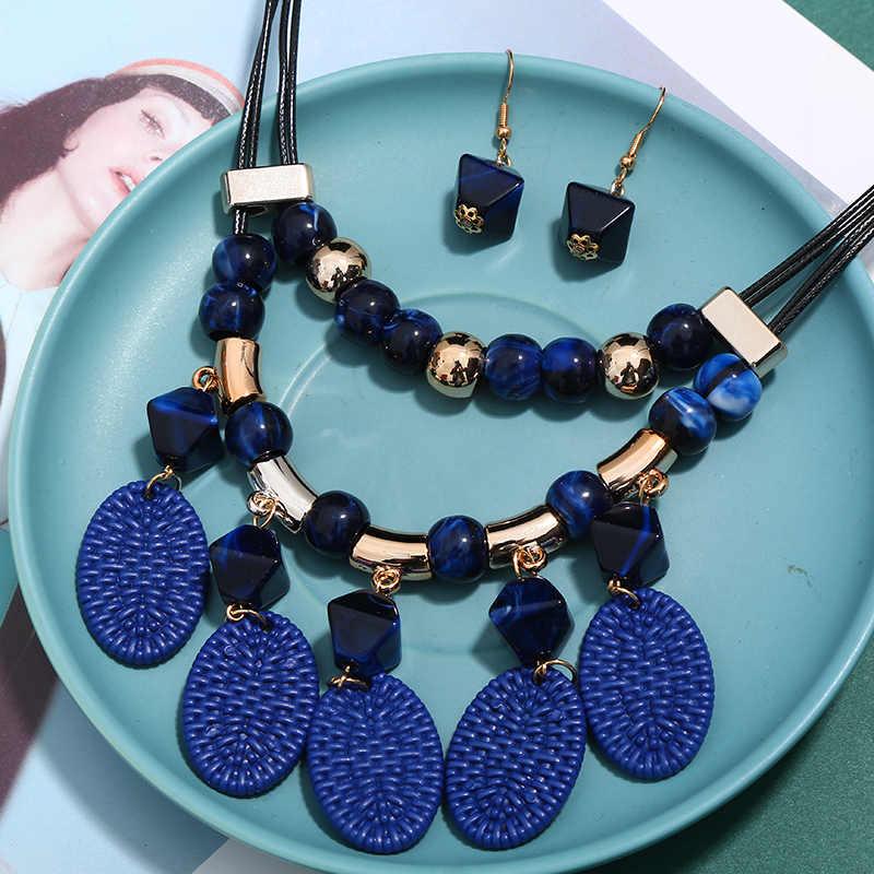 Exggerated Acryl Perlen Anhänger Halskette & Ohrringe Set Für Frauen Mädchen Big Colliers Dubai Jewlry Set Zubehör Geschenke
