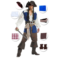 Halloween Medieval Men Captain Jack Sparrow Cosplay Costume Beer Festival Carnival Classic Viking Pirate of Carribbean Outfit