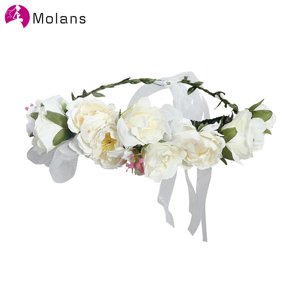 Molans Women Wedding Flower Hair Garland Crown Headband Floral Wreath Hairband Plastic Cloth