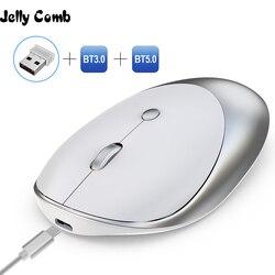 Jelly Comb 3.0/5.0 mysz Bluetooth bezprzewodowa ładowalna mysz Silent Mause Bluetooth 2.4GHz USB mysz do laptopa Notebook PC