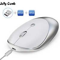 Jelly Comb 3,0/5,0 ratón Bluetooth inalámbrico recargable ratón silencioso Mause Bluetooth 2,4 GHz ratón USB para Laptop Notebook PC