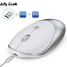 Jelly comb 3.0/5.0 mouse bluetooth, sem fio, recarregável, silencioso, mause, bluetooth, 2.4ghz, mouse usb para notebook portátil pc