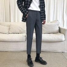 мужские платье брюки New Fashion Korean Style Slim Fit Casual Straight Pants Male Anti-Wrinkle Social Pants +Young men% 27s брюки