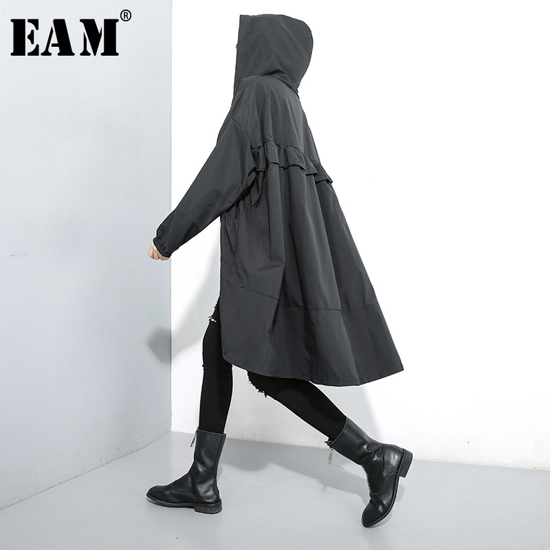 [EAM] Women Black Ruffles Big Size Thin Trench New Hooded Long Sleeve Loose Fit Windbreaker Fashion Spring Autumn 2020 1M007