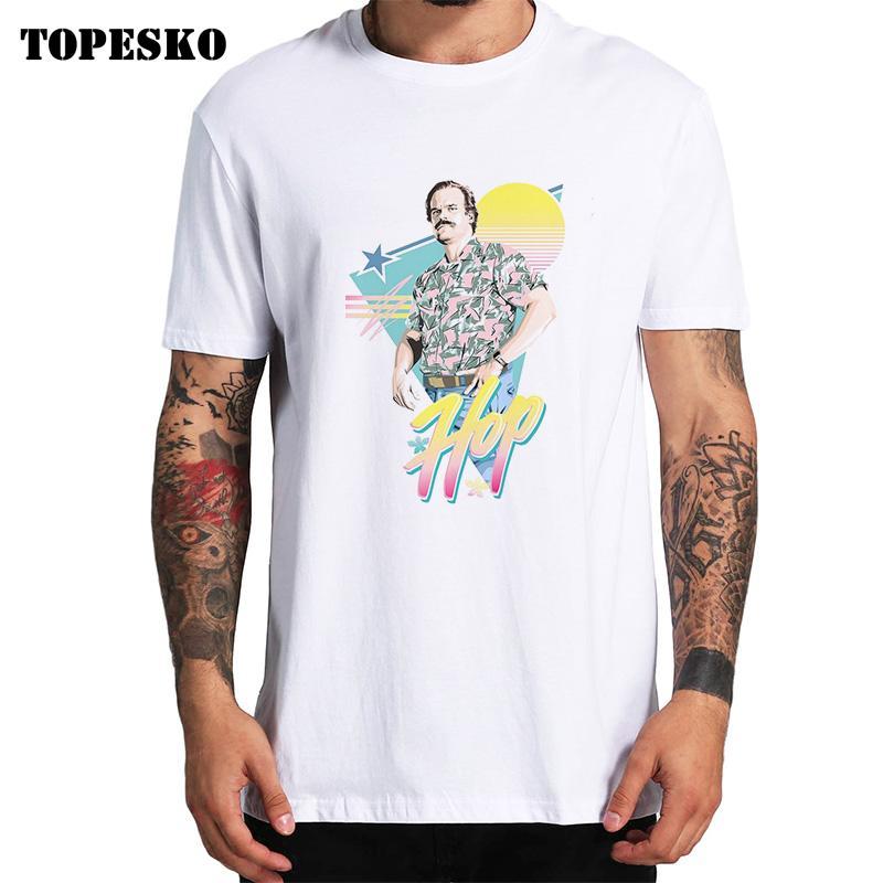 TOPESKO Men T-shirt Fashion Brand stranger things hopper Print T shirt Men Trend Casual Short sleeve Tshirt Tops tee