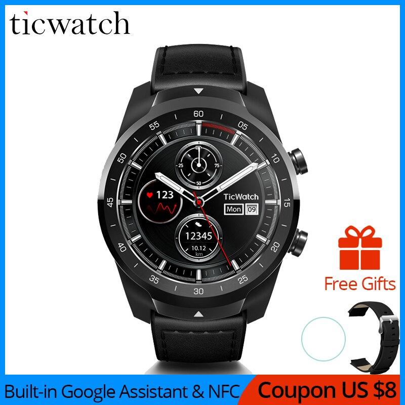 Suporte NFC Pagamentos IP68 Ticwatch Pro Bluetooth Relógio Inteligente À Prova D' Água/Assistente Google Desgaste OS pelo Google Esportes Relógio Inteligente