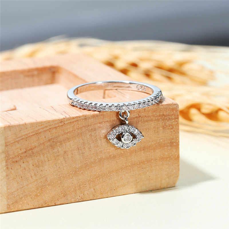 Rongxing SINGLE Eye Dangle แหวนคริสตัล 925 เงิน Rose Gold สีขาว Zircon Minimalist บางแหวนสำหรับเครื่องประดับงานแต่งงานของผู้หญิง