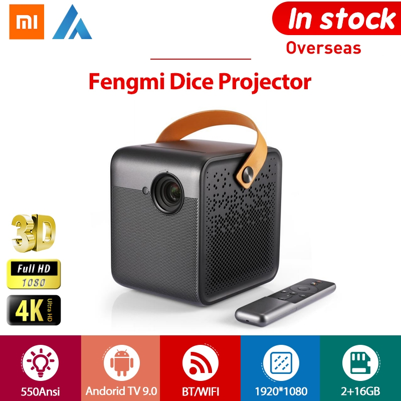 Xiaomi Fengmi Dice Мини проектор Full HD Android TV 3D Портативный Led 550Ansi Google Assistant телефон 2 Гб 16 Гб AI BT домашний кинотеатр