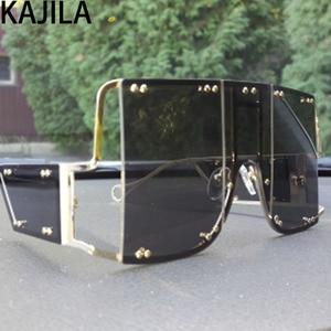Image 5 - Übergroßen Quadratischen Rihanna Sonnenbrille Frauen Legierung Rahmen Schatten Für Frau Trend Damen Gläser UV400 oculos de sol feminino 2096