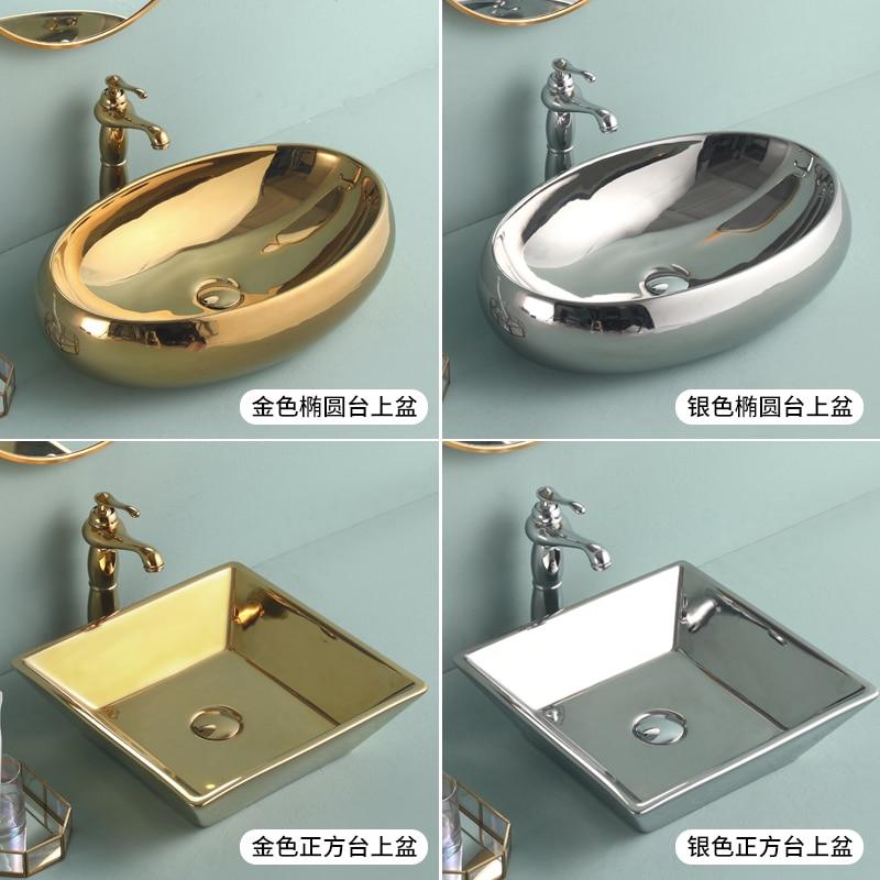 Gold or Silver Oval Bathroom Vessel Sink Washbasin Above Counter Basin Ceramic Sink Art Basin Wash Basin|Bathroom Sinks|   - AliExpress