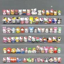100 pçs hellokittyes boneca japão anime kt gato chaveiro anjo micro paisagem ornamentos jóias