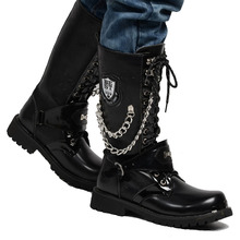 Centencary Mens Cowhide Genuine Leather Work Boots Military Combat Gothic Skull Punk Motorcycle Martin