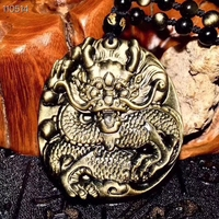Genuine Natural Gold Obsidian Flash Light Gemstone Pendant 51x46mm Carved Dragon Natural Stone Necklace Drop Shipping