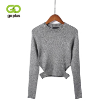 GOPLUS O Neck Hollow Out Sweaters Woman 2019 Autumn Short Sexy Sweater Women Long Sleeve Knitted Cotton Pullovers Streetwear