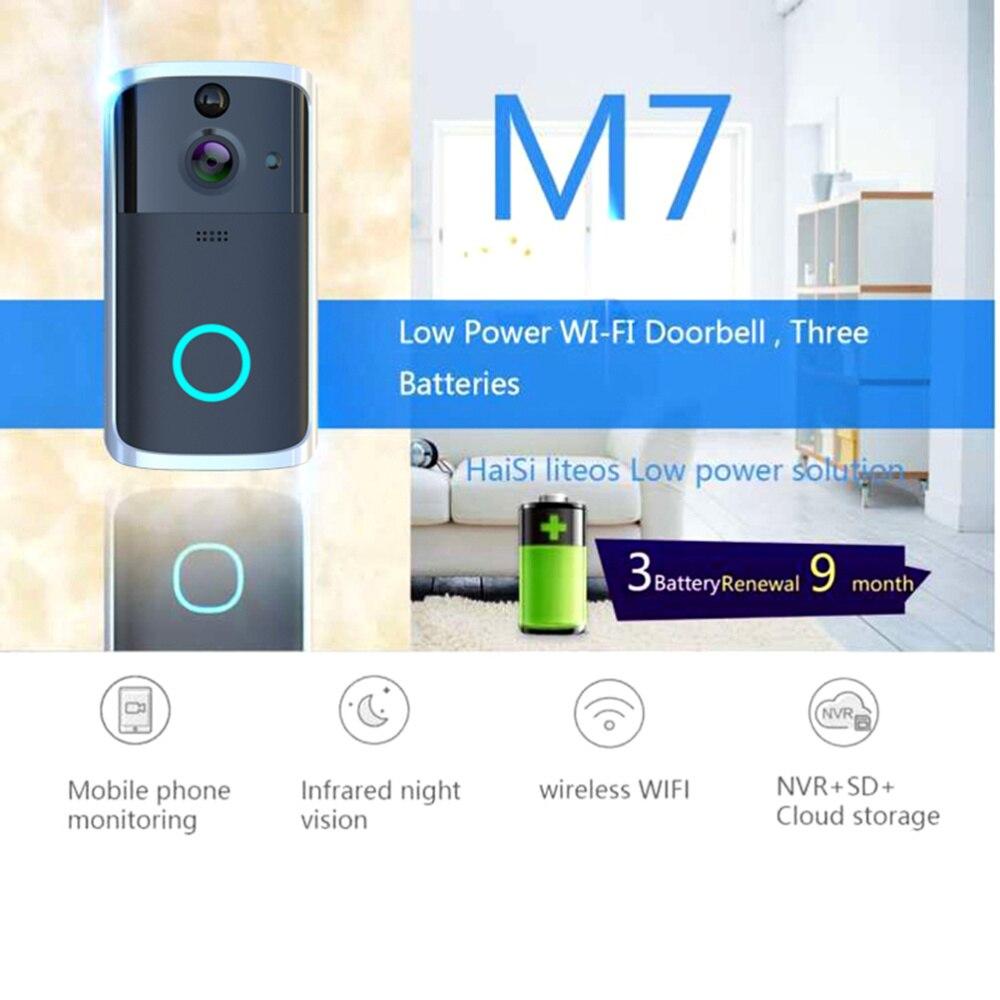 M7 WIFI Doorbell Video Door Intercom Wireless Smart Home IP Door Bell Camera Alarm Infrared Night Vision without Batter