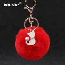 חמוד ורוד חתול פרווה אביזרי רכב עבור בנות Keychain רכב קישוט תליון Pompom מזויף פרווה כדור מפתח שרשרת תיק קסמי keyring