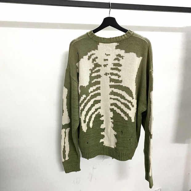 Kapital Green Loose Skeleton Bone Printing Sweater Men Woman Good Quality High Street Damage Hole Vintage 1:1 Knit Sweater