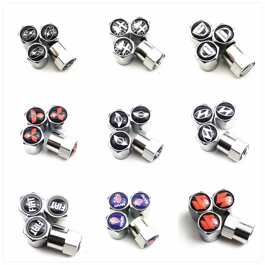 4pcs New Metal Wheel Tire Valve Caps For FORD Focus Fiat Abarth Renault Golf Nissan Daewoo Toyota Car Accessories Motorcycle