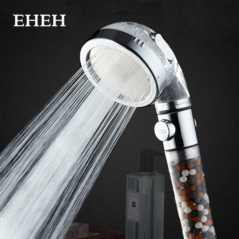 EHEH 3 Functions SPA Shower Head with On/Off Switch Bathroom Adjustable Water Saving High Pressure Showerhead